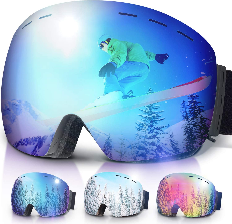 Amzdeal Ski Goggles OTG Snow Glasses Double Italian Lens Snowboard Goggles for Men and Women 100% UV Protection and Anti-Fog, Ski Glasses for Skiing,Snowmobile,Snowboaring,Skating