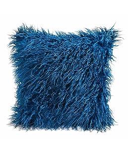 Botrong Fashion Plush Throw Pillow Cases Cafe Sofa Cushion Cover Home Decor 45cm×45cm (Blue)