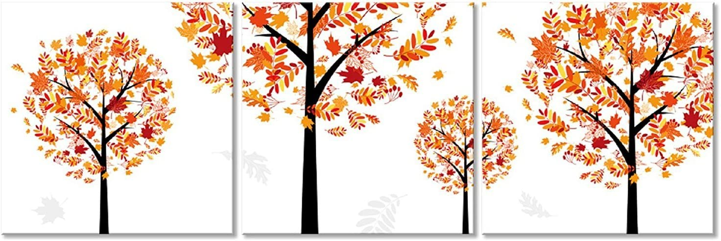 Amazon Com Canvasceo Framed Orange Tree Simplicity Abstract 3 Panel Set Wall Art Print Fiberboard Canvas Ready To Hang 24x24x1 60x60x2 5cm X3 Panels Posters Prints