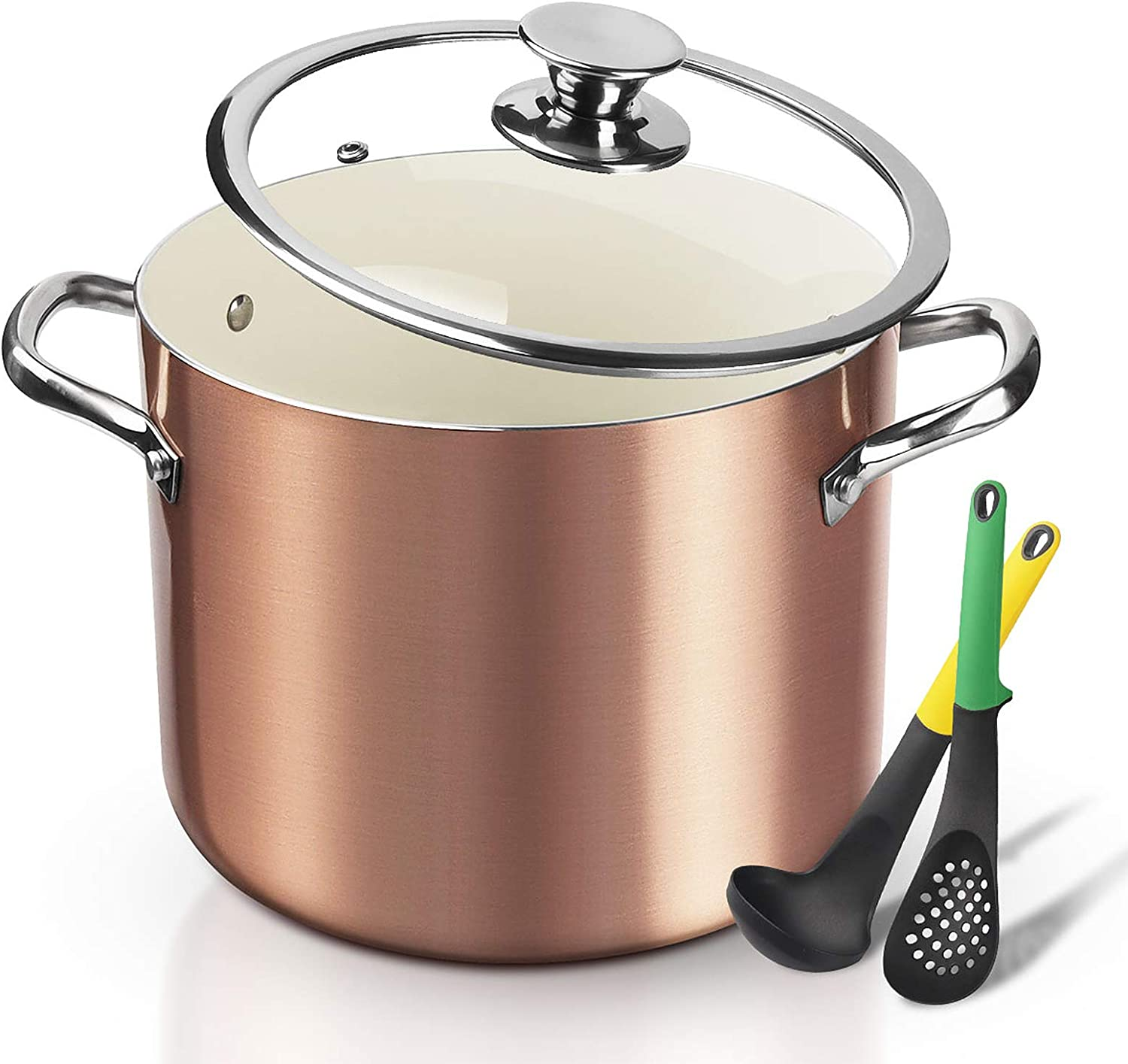 FRUITEAM Nonstick Stock Pot 7 Qt Soup Pasta Pot with Lid, 7-Quart Multi Stockpot Oven Safe Cooking Pot for Stew, Sauce & Reheat Food, Induction/ Oven/ Gas/ Stovetops Compatible for Family Meals
