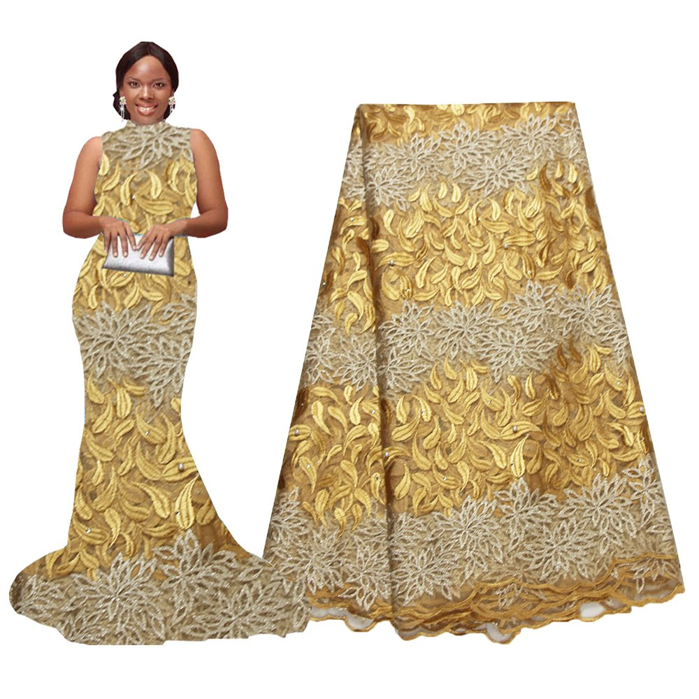 pqdaysun Rhinestones Beading African Net Lace Fabric 5 Yards F50624 (Wine) F50624-7
