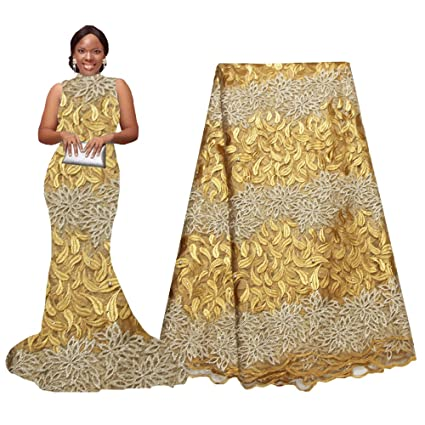 7ce528037ef Amazon.com  pqdaysun African Lace Fabric 5 Yards 2019 Nigerian Wedding Lace  Wax Fabric Rhinestones Beading French Lace F50624 (Gold)