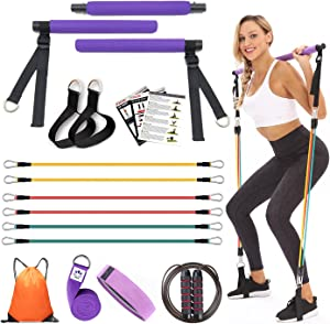 YXILEE Pilates Bar Kit 6 Elastic Adjustable Resistance Band Body Shaping Stick for Yoga, Stretch, Sculpt, Squat,90 lbs Home Gym Workout