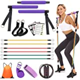 YXILEE Pilates bar Set with Resistance Bands for Women   Adjustable Pilates Stick   Yoga Strap   Jump Rope   Hip Band   Gym B