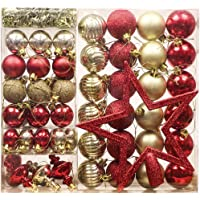 Valery Madelyn 60ct Christmas Shatterproof Balls Set Circle Star Heart-shape Pendant Treetop Traditional Baroque Hanging Tree Ball Ornaments for Holiday Xmas Party Indoor Outdoor,60 Pcs Hooks Included