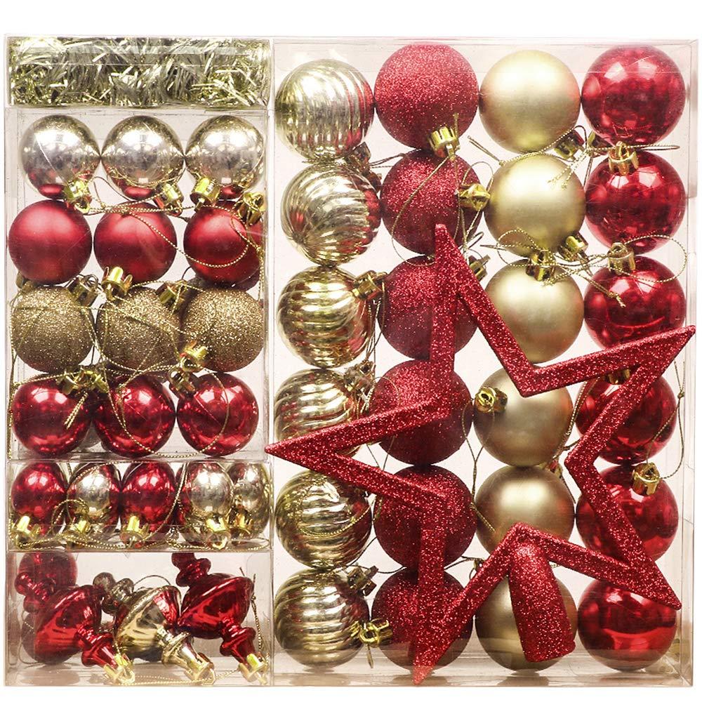 4e037e3c424 Valery Madelyn 60 pzs decoración de árbol de Navidad conjunto de plástico  para la decoración del