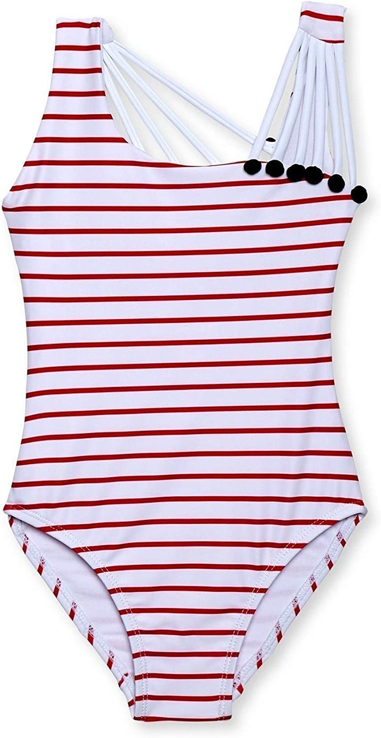 Stella Cove Big Girls Red White Stripe Shoulder String One Piece Swimsuit 8-14