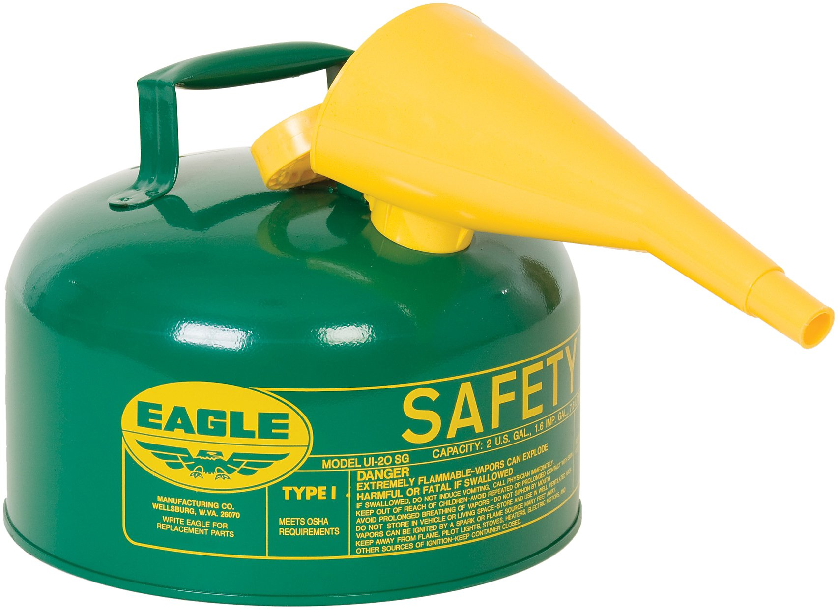 Eagle UI-20-FSG Type I Metal Safety Can with F-15 Funnel, Combustibles, 11-1/4'' Width x 9-1/2'' Depth, 2 Gallon Capacity, Green