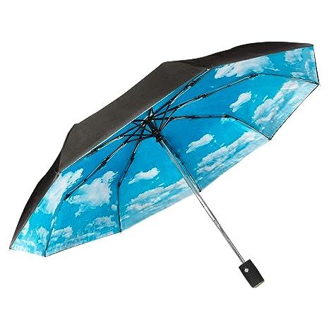 Paraguas Plegable Automático Compacto y Ligero GOLDEN LEMUR. Paraguas Resistente Antiviento. Doble Capa .