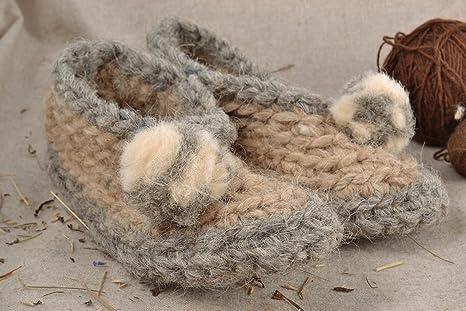 Zapatillas de lana con pompones