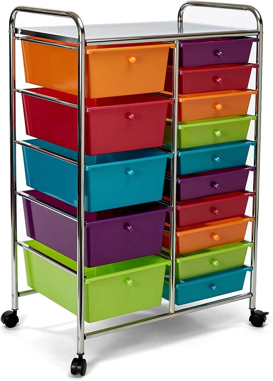 Pearlescent Multi-Color Seville Classics 10-Drawer Organizer Cart