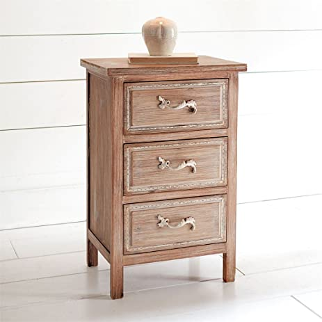 Gentil Brylanehome Ellarose 3 Drawer Side Table (Natural White Wash,0)