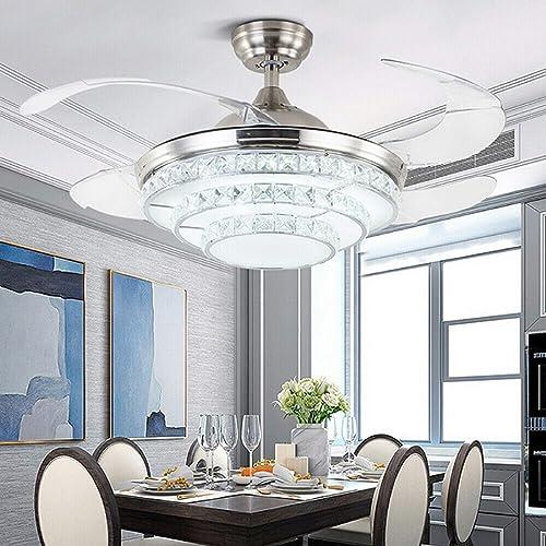 42″ Modern K9 Crystal Ceiling Fan Light