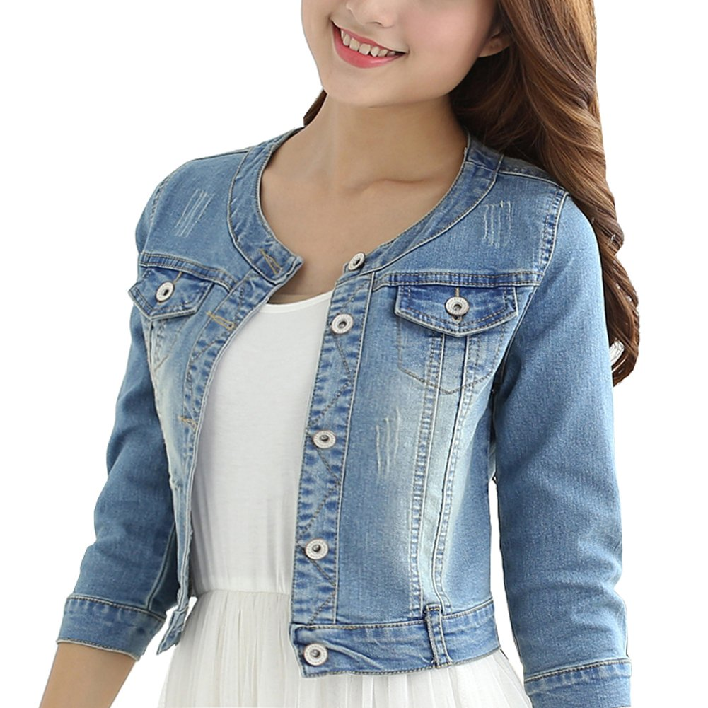 Only Faith Women's Light Blue Round Neck Short Denim Shawl Jacket 3/4 Sleeve (M)