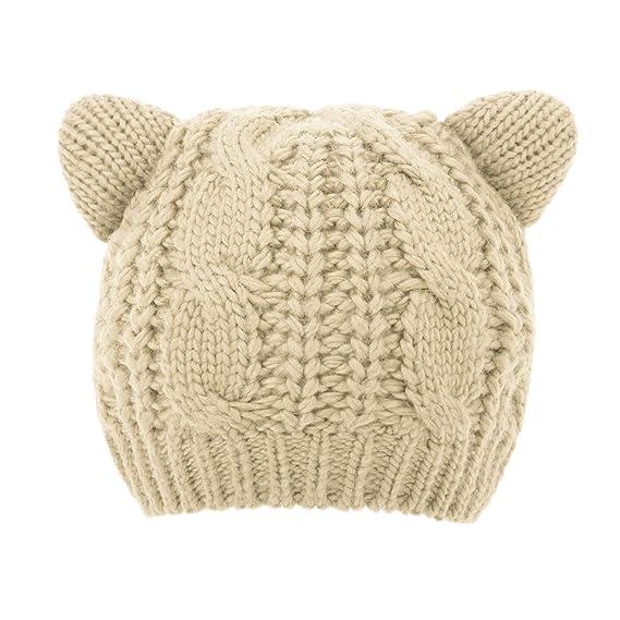 11f7e92d15e Luxspire Women Cute Cat Ear Hat Ski Knit Cap Girl Crochet Beanies - Beige