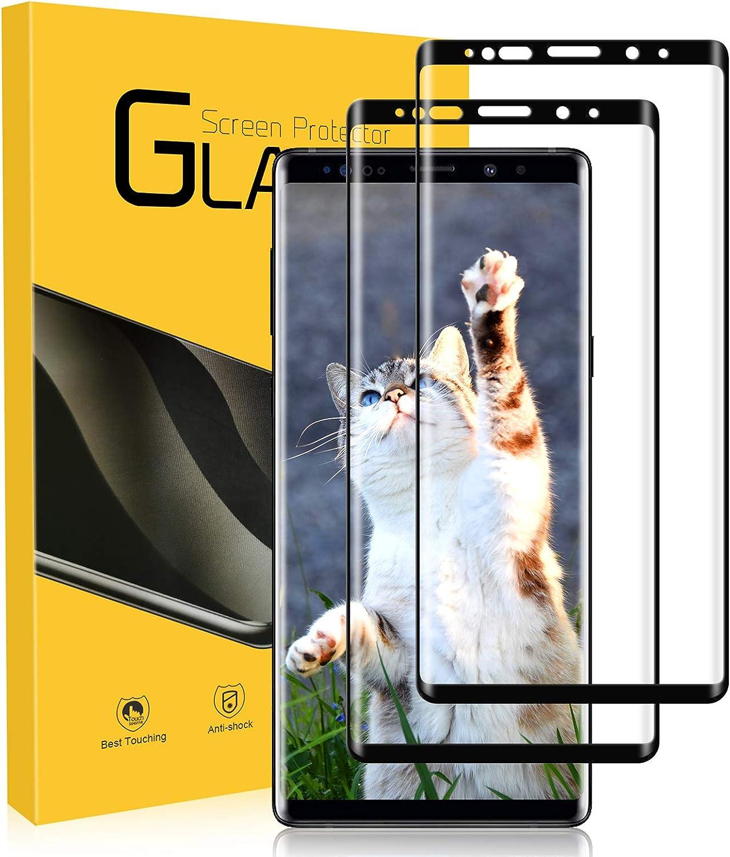 UTEAMY Protector de Pantalla para Galaxy Note 9, [2 Pack] 3D Completa Samsung Note 9 Cristal Templado, dureza 9H, sin Burbujas, Ultra Transparente, Resistente a los arañazos