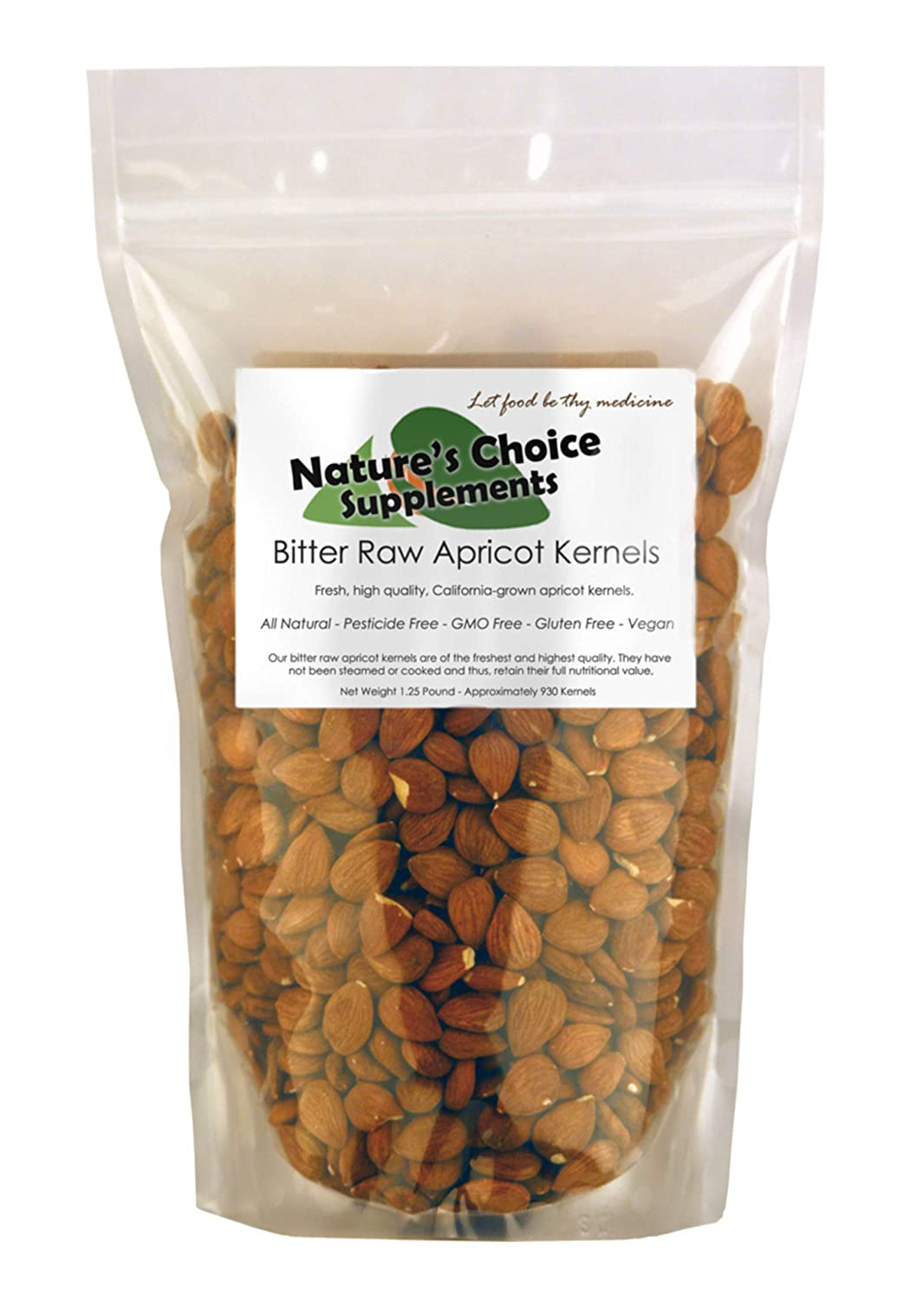 Bitter Apricot Kernels, 1 pound, 750 Raw Apricot Seeds, 100% All Natural, GMO Free, Pesticide Free, Gluten Free, Vegan.