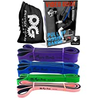 Pull Up Assistance Bands - Best Resistance Loop Bands Set for Pullup Assist, Muscle Toning, Stretching, Legs Glutes Crossfit Physical Therapy Pilates & Yoga - Improve Mobility & Strength