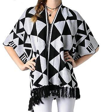 bf4680520bbd Wofupowga Women Geometric Oversized Long Sleeve Coat Poncho Fringe Color  Block Knit Cardigans Black White S