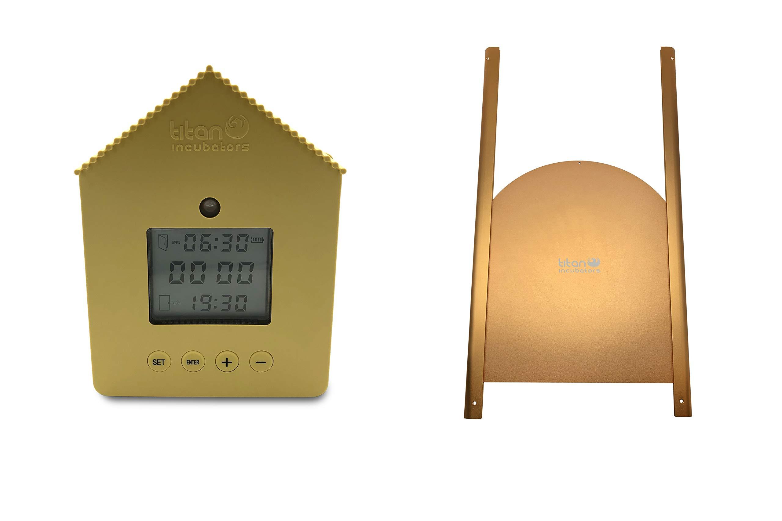Titan Incubators Automatic Chicken Door/Automatic Chicken Coop Door Opener with Light Sensor and Timer + Deluxe Chicken Coop Door - Elite by Titan Incubators