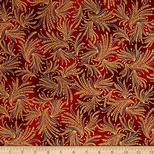 Metallic Spice (Kaufman Valley of the Kings Metallic Branches Spice Fabric By The Yard)