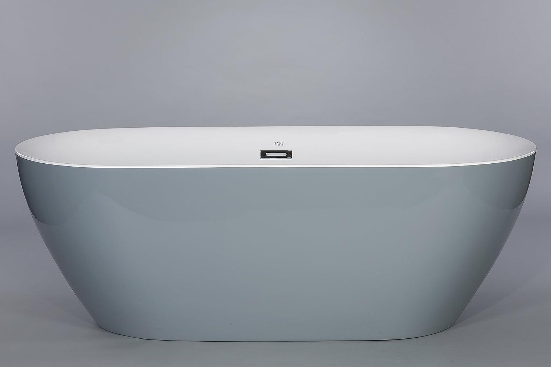 Kokss Lamone Gray Freestanding Modern Seamless Acrylic Bathtub ...