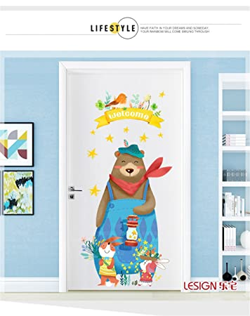 LangToo Cartoon Schlafzimmer Nordic Dekorationen Kreative Cute Bear Tür  Poster Kunst Galerie Im Wohnzimmer An Der