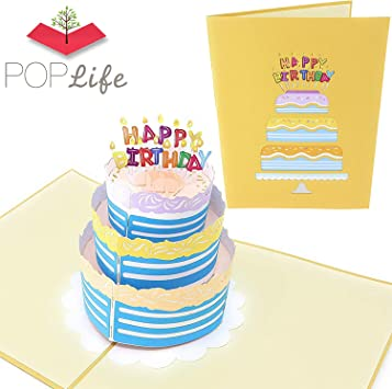 POP UP 3D card birthday cake with icing /& candles