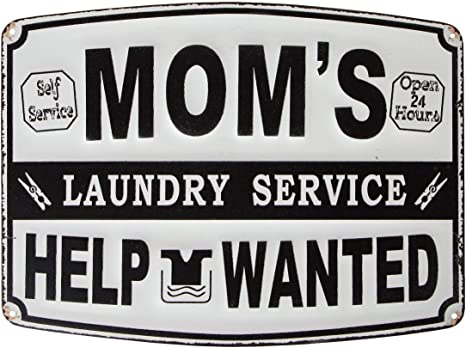 Amazon Com Lily S Home Funny Mom Laundry Room Decor Metal Hanging Sign Novelty Gifts For Kitchen