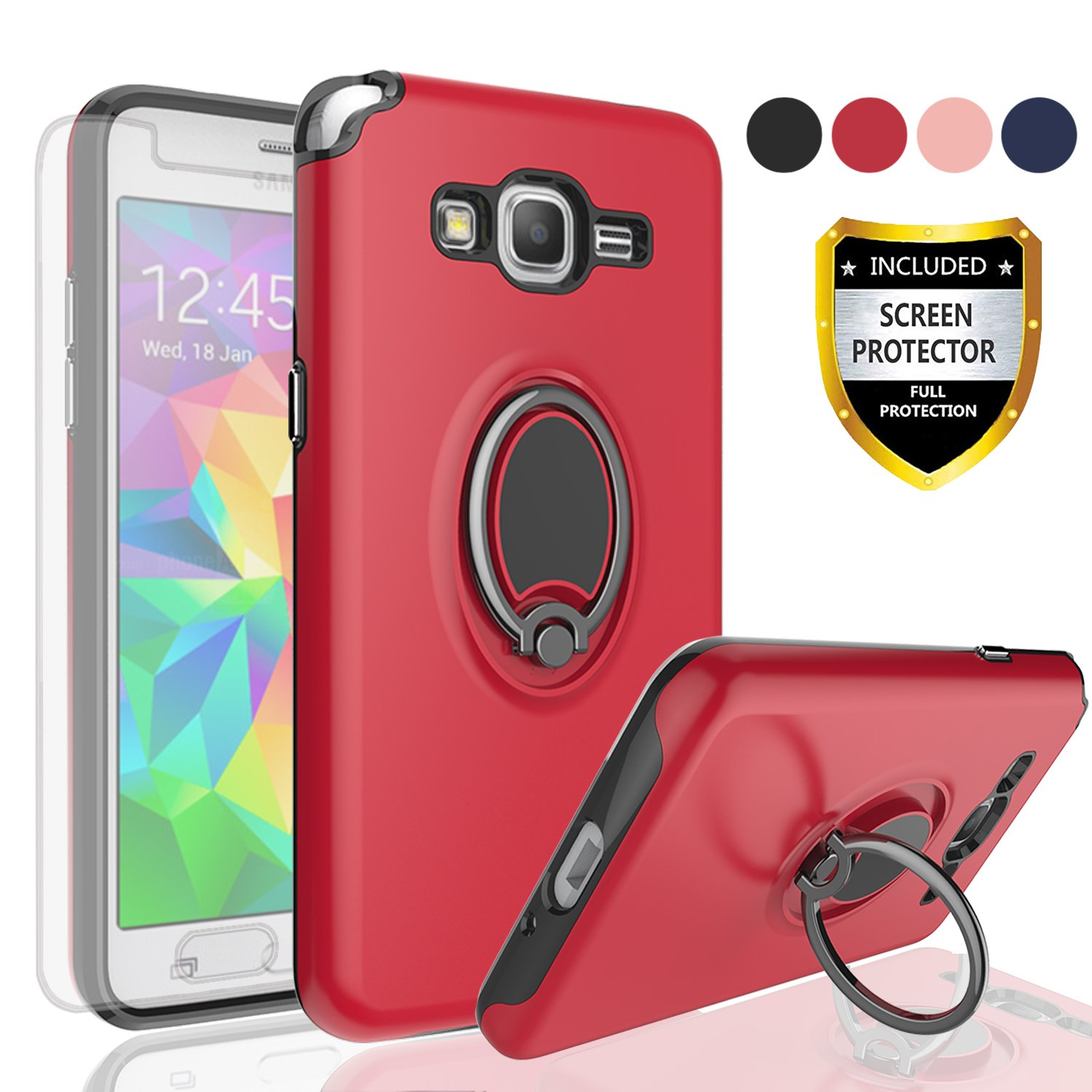 Samsung Galaxy Grand Prime CaseGalaxy J2 Case With HD Screen ProtectorAngxyy Rotating Ring Holder Dual Layer Shock Bumper Cover For