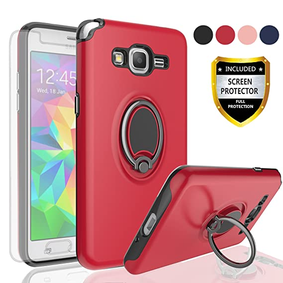 cheap for discount 3547a 4b6c9 Samsung Galaxy Grand Prime Case,Galaxy J2 Prime Case with HD Screen  Protector,Angxyy Rotating Ring Holder Dual Layer Shock Bumper Cover for  Samsung ...