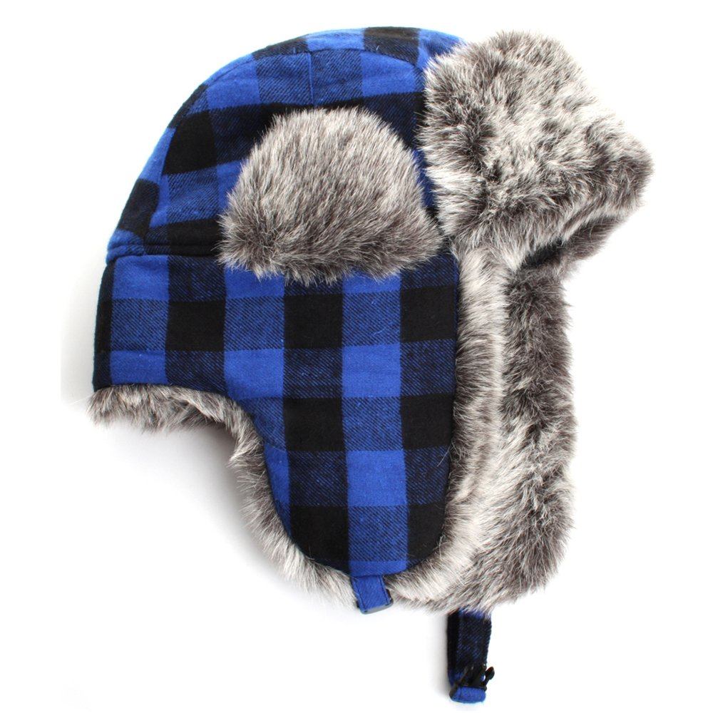 City Hunter W220 Unisex Plaid Wool Trapper Hat - 3 Colors CAW220ABKWH