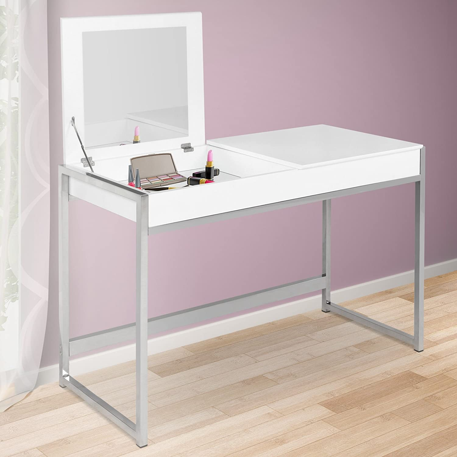 Bedroom dressing table with mirror - Miadomodo Dressing Table Make Up Dresser With 2 Compartments And Large Mirror White Cosmetics