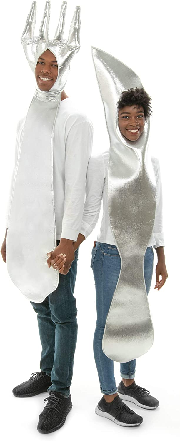 Fork & Knife Couples Halloween Costume - Funny Food Adult One-Size Costumes Silver