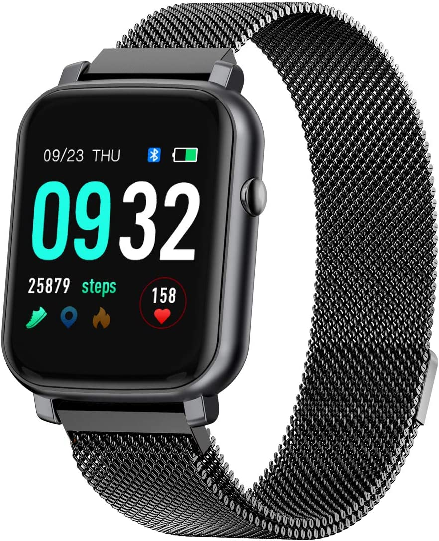 Anmino Smart Watch with Heart Rate Monitor Smart Watch Android Phone Fitness Tracker IP68 Waterproof Activity Tracker Full Touch Screen Smartwatch Sleep Monitor Calorie Step Counter (Black Steel)