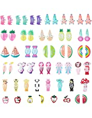 SOMIER 58pcs Cartoon Girls Hair Clips Snap Set Cute Animals Fruits Hair Barrettes No Slip Metal Assorted Hairpins for 0.6-12 Years Old Baby Toddlers Kids Gift