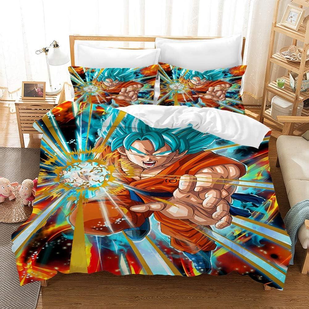 WZX Duvet Cover Set 3D Japan Anime Dragon Ball Z 1 Duvet Cover 2 Pillow Shams Soft Lightweight Microfiber Bedding Set Twin Full Queen King Size for Choice (No Comforter) 1-TWIN172×218cm