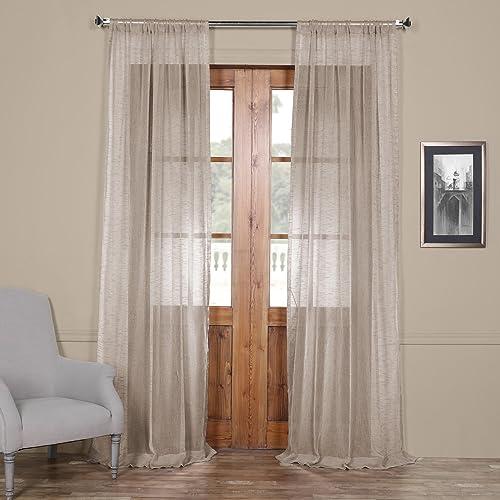HPD Half Price Drapes SHLNCH-J0108-84 Linen Sheer 1 Panel , 50 X 84, Open Weave Cinder Grey