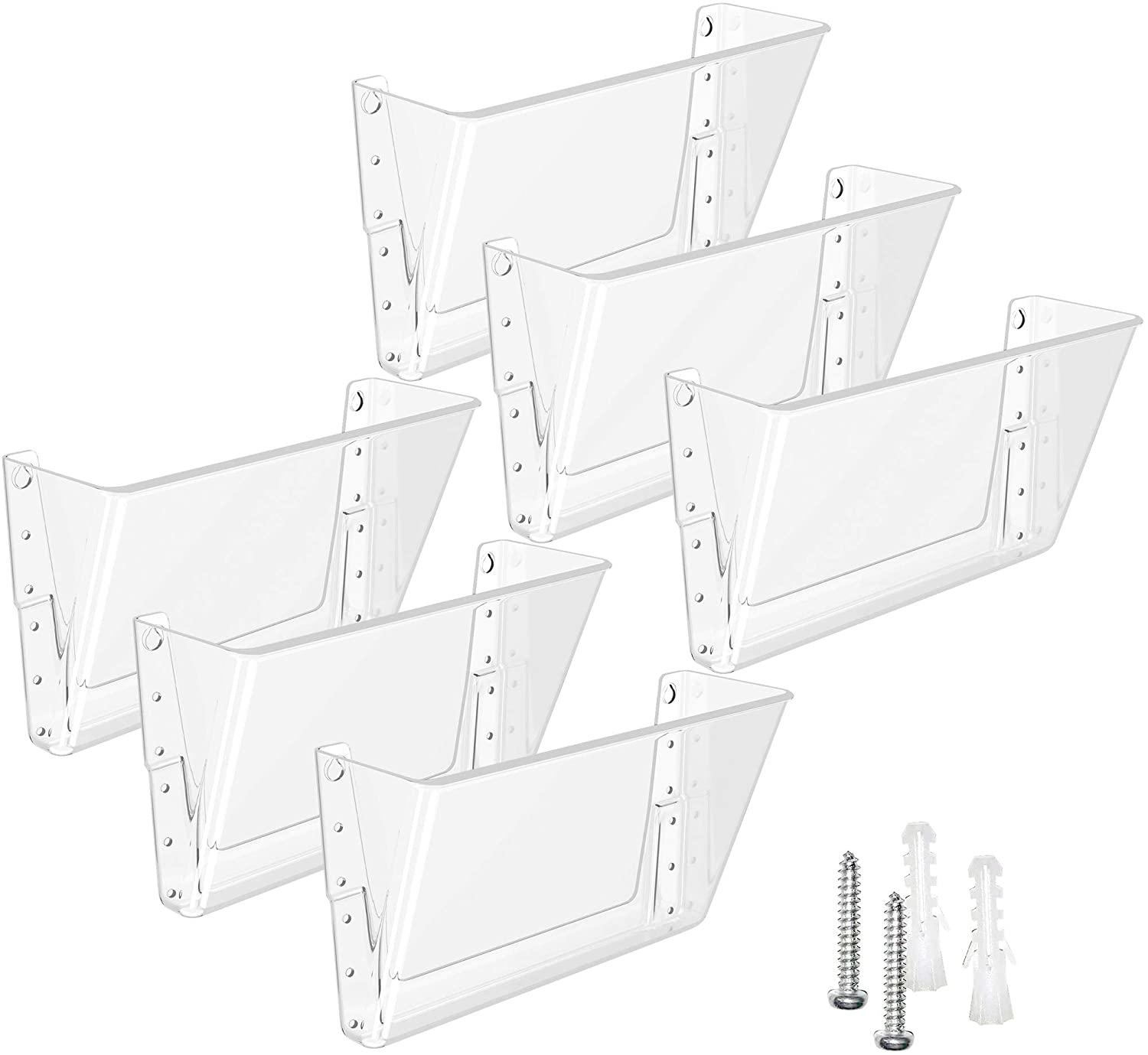 MaxGear Acrylic File Holder Wall Organizer 6 Pockets Hanging File Organizers Wall Mounted Paper Organizer Holders Wall Bins for Office and Home, Clear, 13x4x7 inches