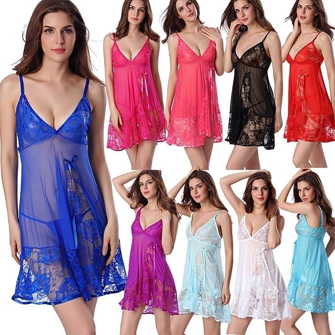 ... 2 Piezas Modernas Casual Exquisito Casual Pijamas Mujer Sleeveless V-Cuello Splice Encaje Transparentes Batas Albornoz: Amazon.es: Ropa y accesorios