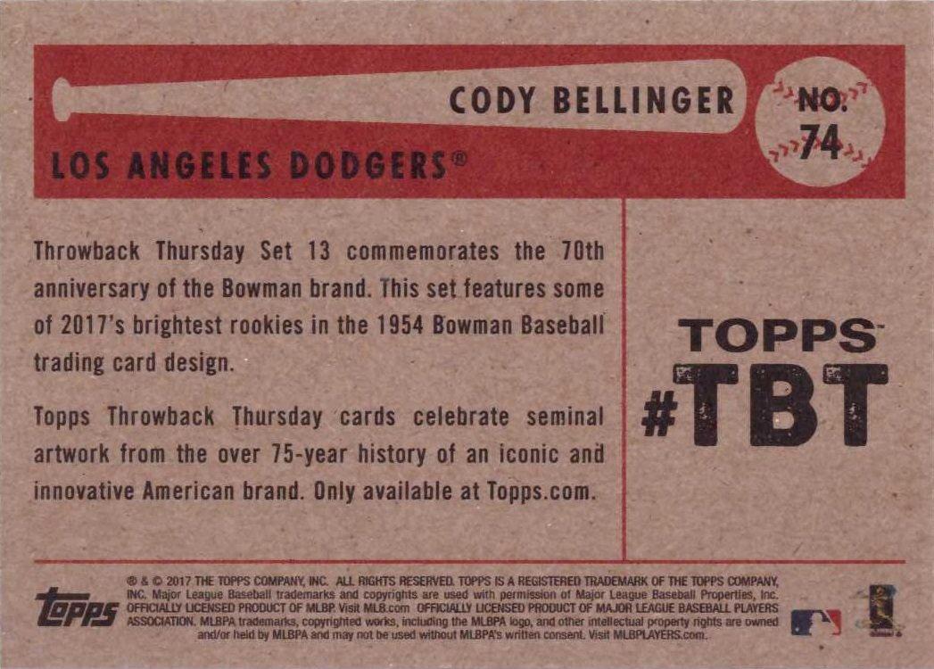 2017 Topps Throwback Thursday TBT #74 Cody Bellinger Baseball Rookie Card 1954 Bowman Design Only 1,475 made!