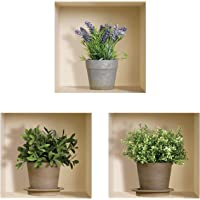 The Nisha Art Magic 3D Vinyl Removable Wall Sticker DIY, Set of 3, Green Lavender Plants