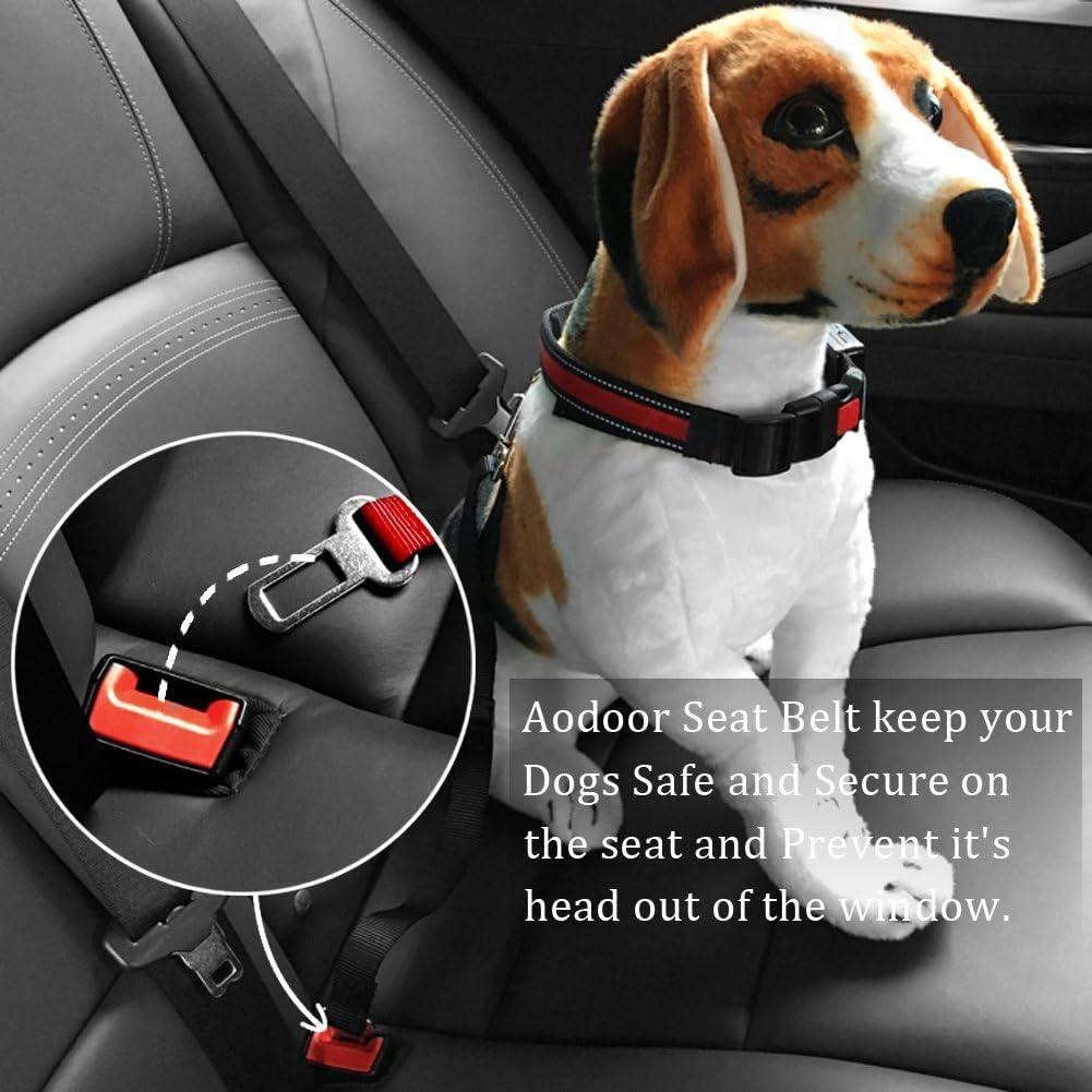 Aodoor Auto Laisse Ceinture de S/écurit/é pour Chien//Chat//Animaux Laisse Chien Clip Ceinture de s/écurit/é pr Voiture Auto Noir 2 Pack