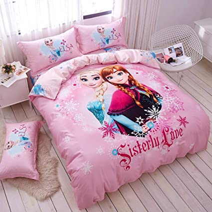 Casa 100 Cotton Kids Bedding Set Girls Frozen Elsa And Anna Princesses Pink Duvet Cover And Pillow Case And Flat Sheet 3 Pieces Twin Amazon Co Uk Kitchen Home