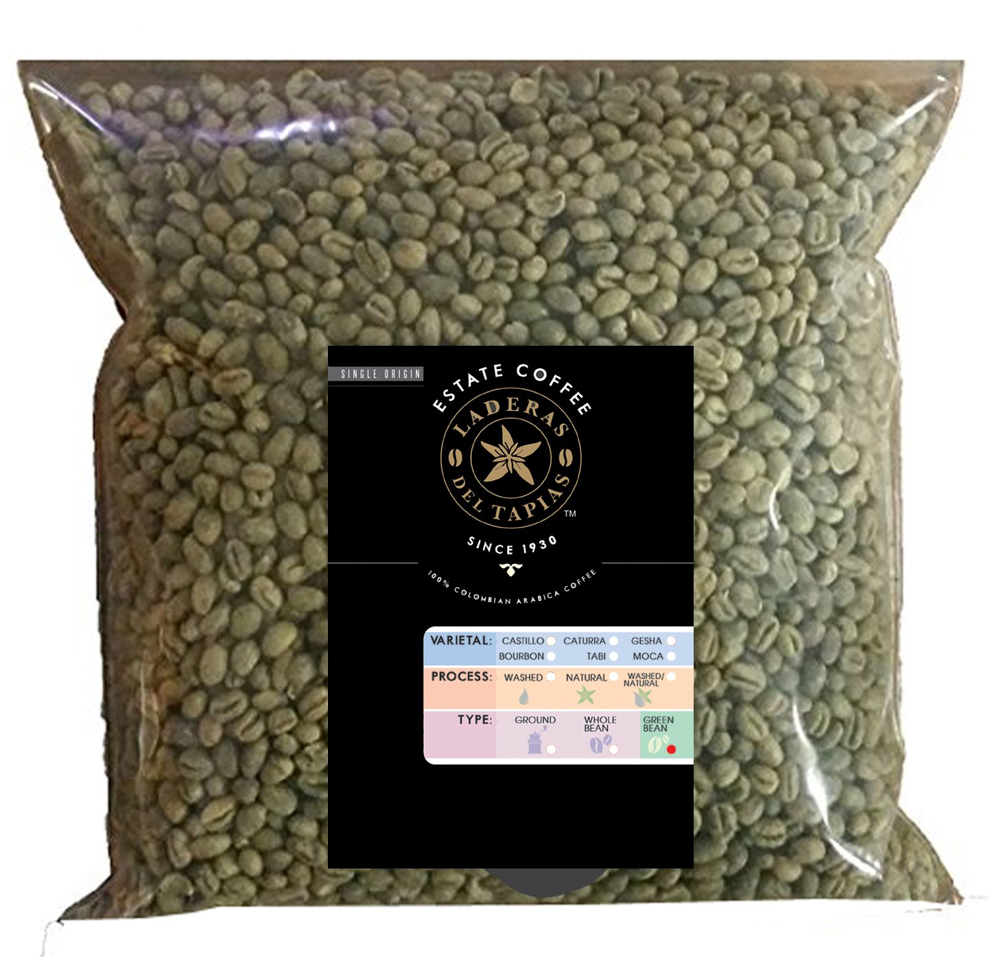 5 lb Caturra AAA Unroasted Green Coffee Beans, Specialty Grade, (Caturra AAA Washed - Laderas Del Tapias AAA, (Caturra AAA Washed - Laderas Del Tapias AAA, 5 lb)