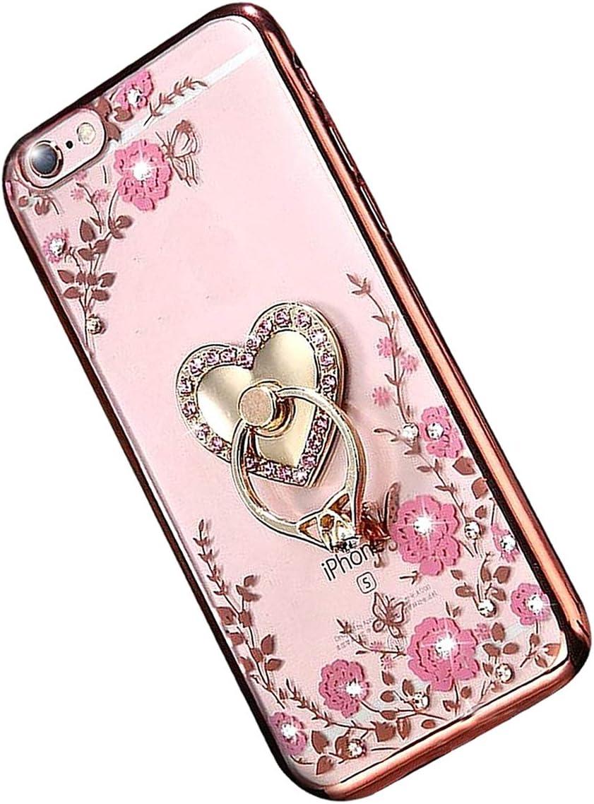 Miagon Glitzer Durchsichtig Transparent Blumen Schmetterling Galvanik Silikon H/ülle mit 360 Grad Diamant Ring St/änder Strass Schutzh/ülle f/ür Samsung Galaxy J5 2016