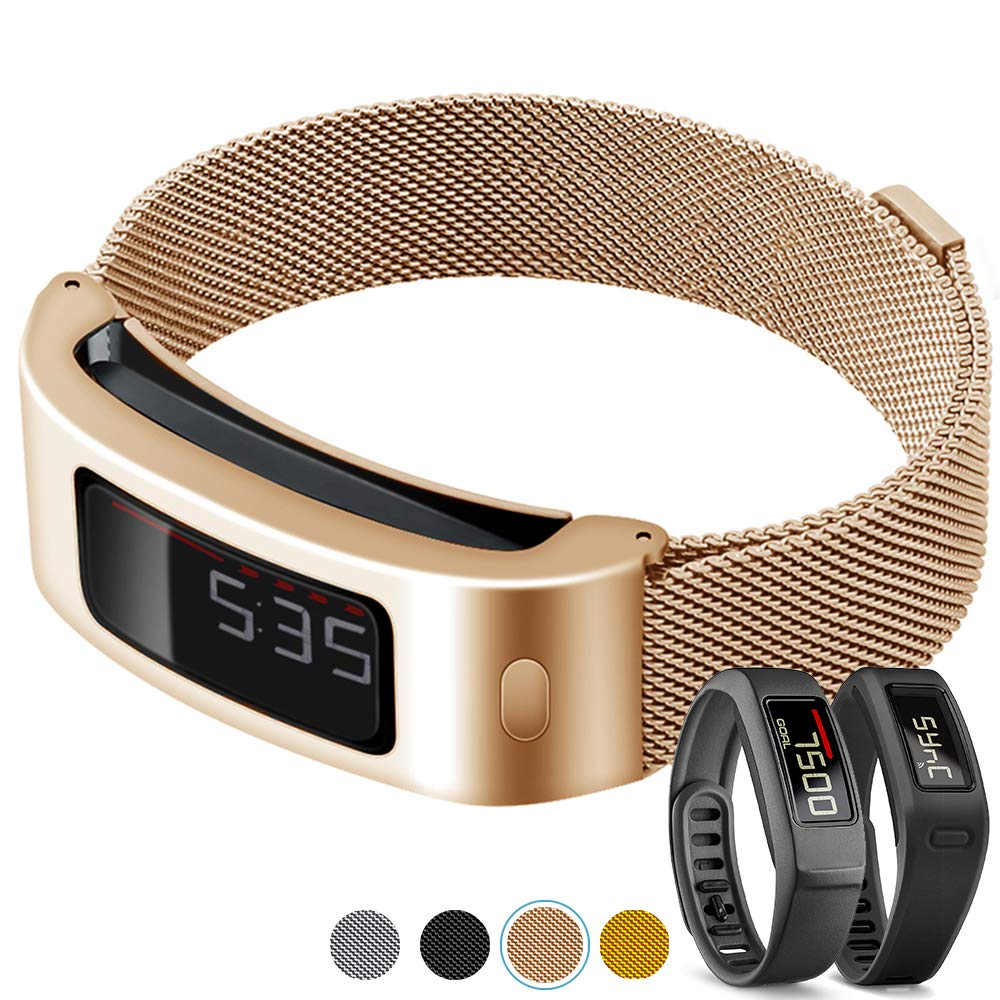 C2D JOY Compatible with Garmin Vivofit and Vivofit 2 Replacement Band with Metal Case, Metal Weave Strap for Daily Wear Soft, Breathable Activity Tracker Accessories Watchband - 1607, S/4.8-6.8 in.
