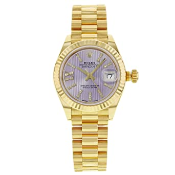 Amazon Com Lady Datejust 28 Lilac Dial 18k Yellow Gold President