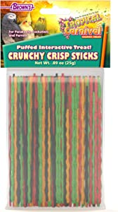 F.M. Brown's Tropical Carnival Crunchy Crisp Sticks Interactive Treat for Pet Birds of All Sizes, 0.89-oz Package