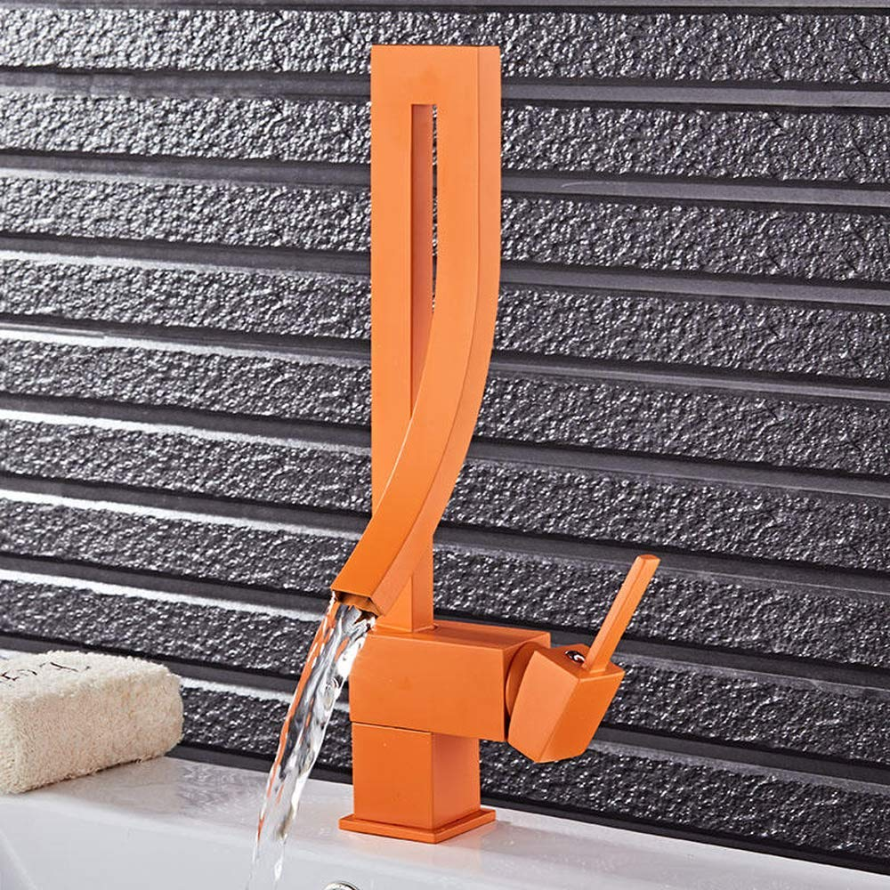 orange Creative orange White color Single Handle Waterfall Brass Basin Faucet Tap Hot and Cold Bathroom Basin Faucet Mixer Tap COD (orange)